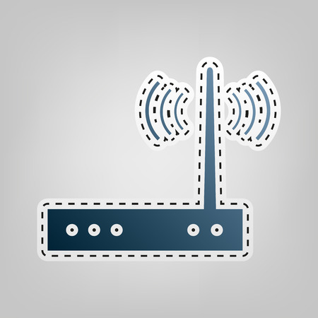 Wifi modem sign. Vector. Blue icon with outline for cutting out at gray background. Illustration