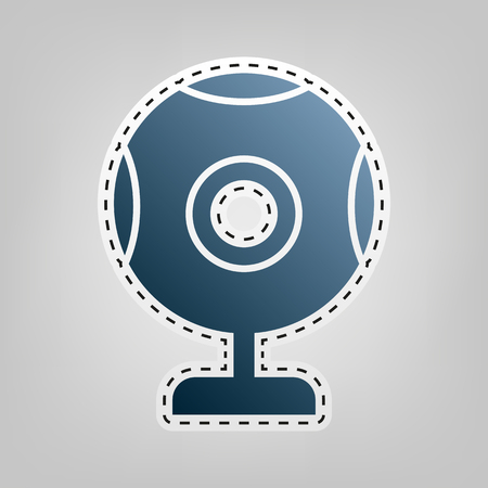 Chat web camera sign. Vector. Blue icon with outline for cutting out at gray background.