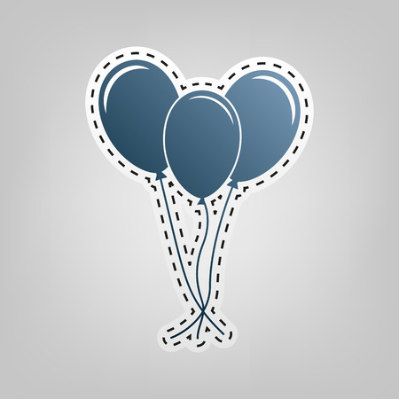 Balloons set sign. Vector. Blue icon with outline for cutting out at gray background.