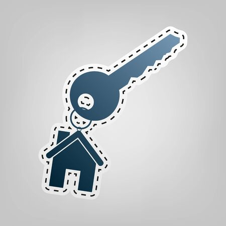 key with keychain as an house sign. Vector. Blue icon with outline for cutting out at gray background.