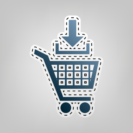 Add to Shopping cart sign. Vector. Blue icon with outline for cutting out at gray background.