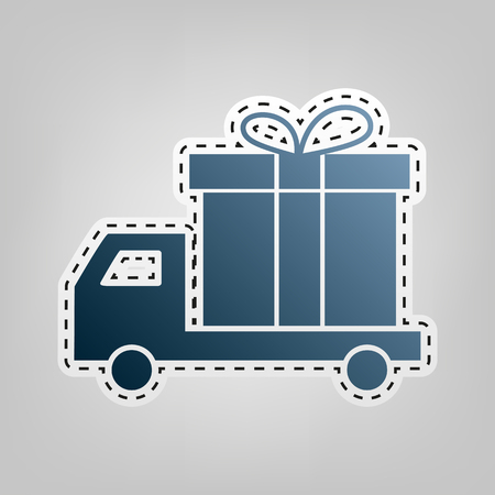 Delivery gift sign. Vector. Blue icon with outline for cutting out at gray background.