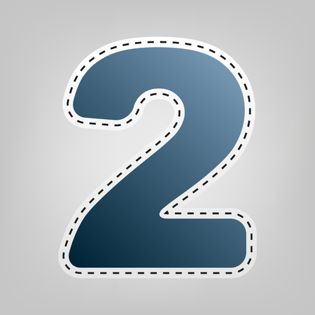 Number 2 sign design template elements. Vector. Blue icon with outline for cutting out at gray background.