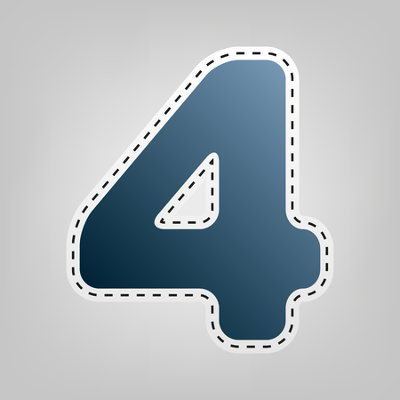 Number 4 sign design template element. Vector. Blue icon with outline for cutting out at gray background.