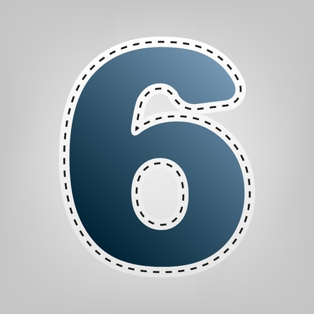 Number 6 sign design template element. Vector. Blue icon with outline for cutting out at gray background.