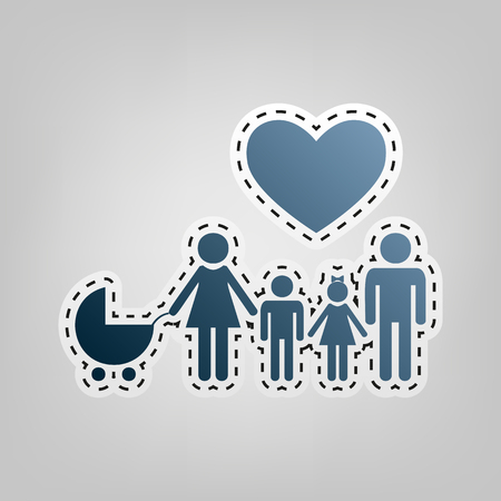 Family sign with heart. Husband and wife are kept childrens hands. Vector. Blue icon with outline for cutting out at gray background. Illustration
