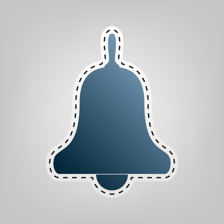 Bell Alarm, hand bell sign. Vector. Blue icon with outline for cutting out at gray background.