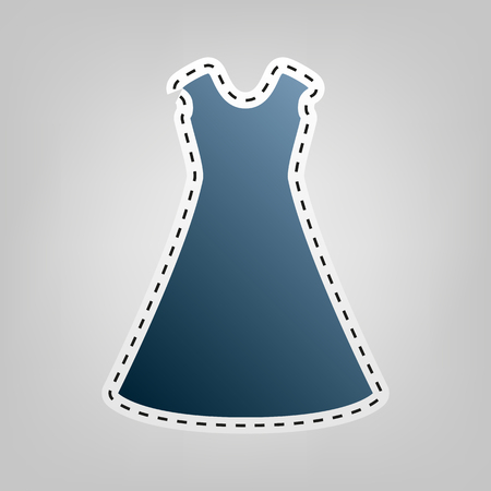 cor: beautiful long dress sign. Vector. Blue icon with outline for cutting out at gray background.