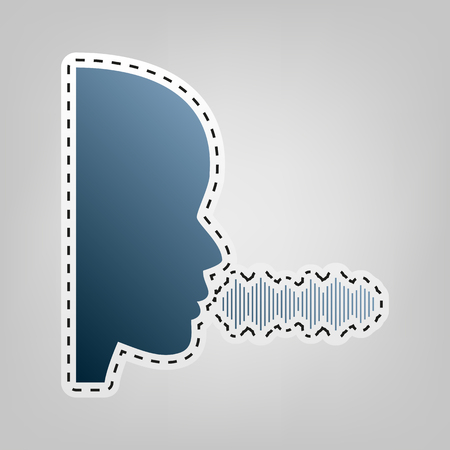 anonymous people: People speaking or singing sign. Vector. Blue icon with outline for cutting out at gray background.