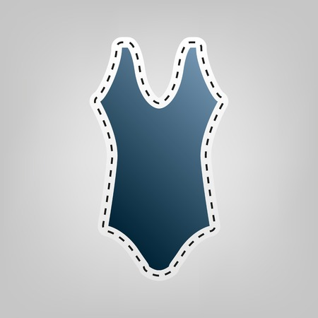 Woman`s swimsuit sign. Vector. Blue icon with outline for cutting out at gray background.
