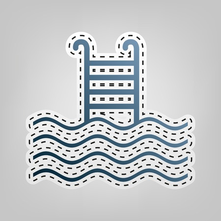 Swimming Pool sign. Vector. Blue icon with outline for cutting out at gray background.