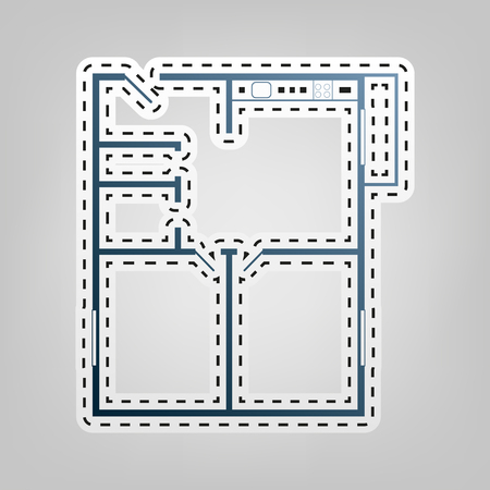 kitchen furniture: Apartment house floor plans. Vector. Blue icon with outline for cutting out at gray background. Illustration