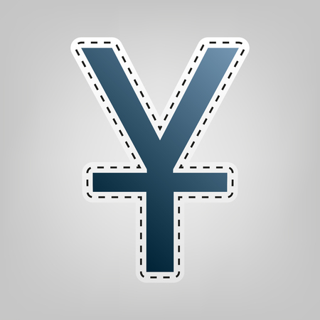 Chinese Yuan sign. Vector. Blue icon with outline for cutting out at gray background.