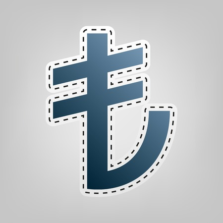money pound: Turkiey Lira sign. Vector. Blue icon with outline for cutting out at gray background.