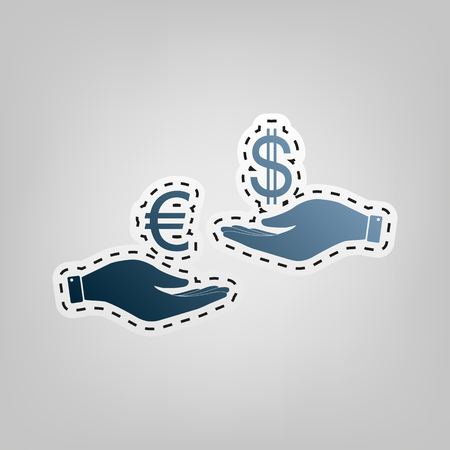 lira: Currency exchange from hand to hand. Euro and Dollar. Vector. Blue icon with outline for cutting out at gray background.