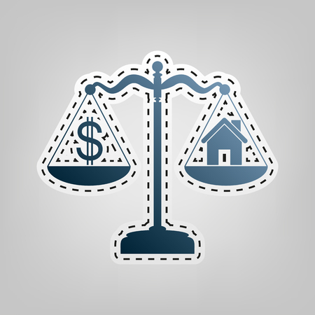 House and dollar symbol on scales. Vector. Blue icon with outline for cutting out at gray background.