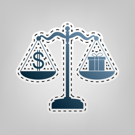 Gift and dollar symbol on scales. Vector. Blue icon with outline for cutting out at gray background.