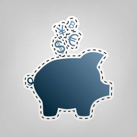 Piggy bank sign with the currencies. Vector. Blue icon with outline for cutting out at gray background. Illustration