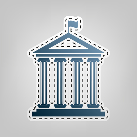 roman pillar: Historical building with flag. Vector. Blue icon with outline for cutting out at gray background.