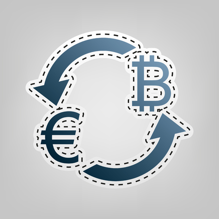 Currency exchange sign. Euro and Bitcoin. Vector. Blue icon with outline for cutting out at gray background. Illustration