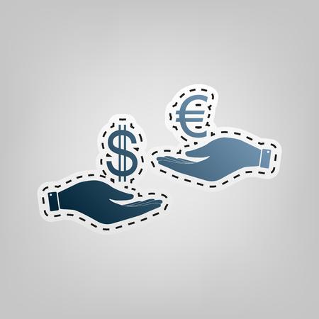 Valutawissel van hand tot hand. Dollar en Euro. Vector. Blauw pictogram met overzicht voor het verwijderen bij grijze achtergrond. Stock Illustratie