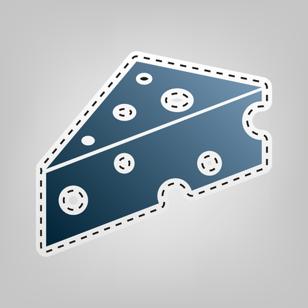 Cheese Maasdam sign. Vector. Blue icon with outline for cutting out at gray background.