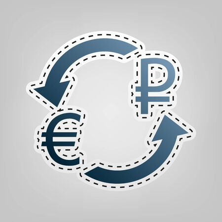 Currency exchange sign. Euro and Russia Ruble. Vector. Blue icon with outline for cutting out at gray background.