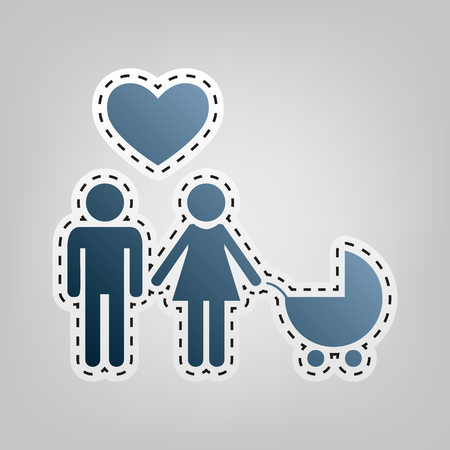 Family symbol with pram and heart. Husband and wife are kept each other`s hands. Love. Vector. Blue icon with outline for cutting out at gray background.