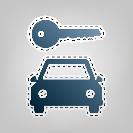 locksmith: Car key simplistic sign. Vector. Blue icon with outline for cutting out at gray background.