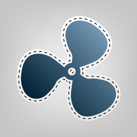 Fan sign. Vector. Blue icon with outline for cutting out at gray background.