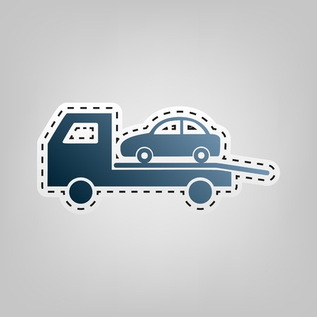 the wrecker: Tow car evacuation sign. Vector. Blue icon with outline for cutting out at gray background. Illustration