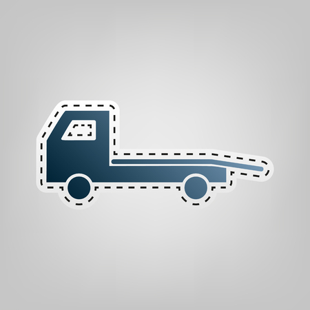 auto service: Service of evacuation sign. Wrecking car side. Car evacuator. Vehicle towing. Vector. Blue icon with outline for cutting out at gray background.