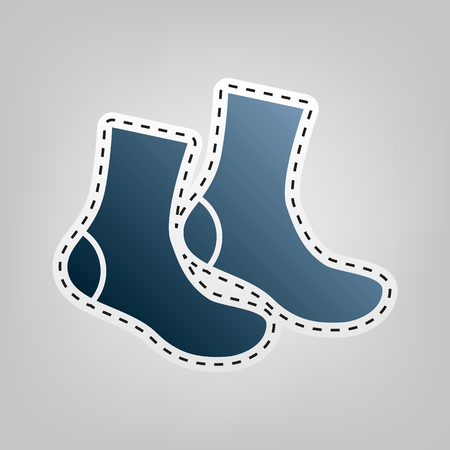Socks sign. Vector. Blue icon with outline for cutting out at gray background. Illustration