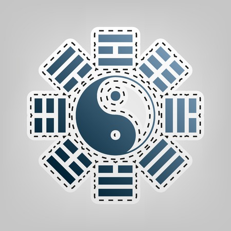 tao: Yin and yang sign with bagua arrangement. Vector. Blue icon with outline for cutting out at gray background. Illustration