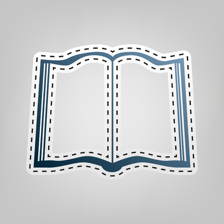 open magazine: Book sign. Vector. Blue icon with outline for cutting out at gray background.