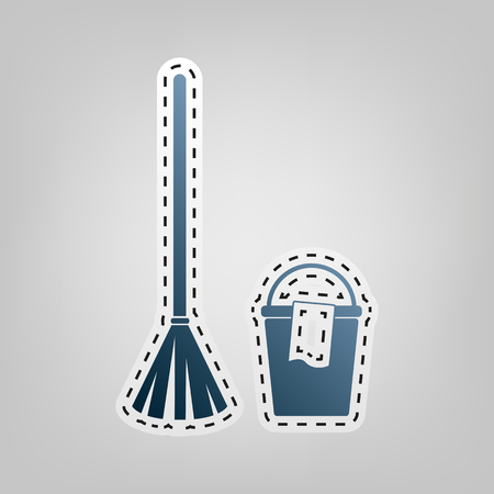 stick out: Broom and bucket sign. Vector. Blue icon with outline for cutting out at gray background.