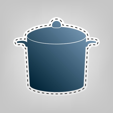 cook out: Pan sign. Vector. Blue icon with outline for cutting out at gray background.