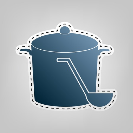 Pan with steam sign. Vector. Blue icon with outline for cutting out at gray background.
