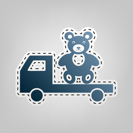 Truck with bear. Vector. Blue icon with outline for cutting out