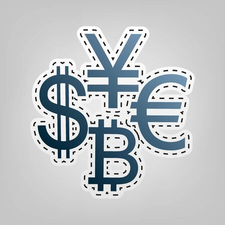 Currency sign collection dollar, euro, bitcoin, yen. Vector. Blue icon with outline for cutting out at gray background.