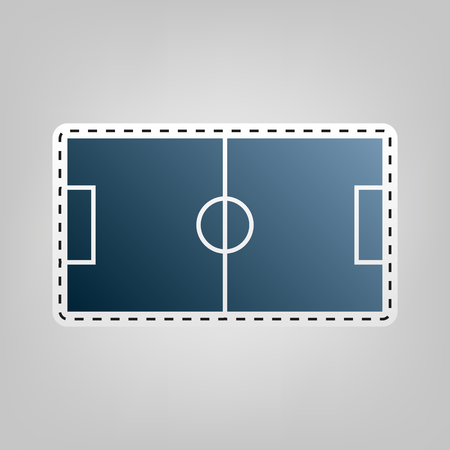 soccer field: Soccer field. Vector. Blue icon with outline for cutting out at gray background.