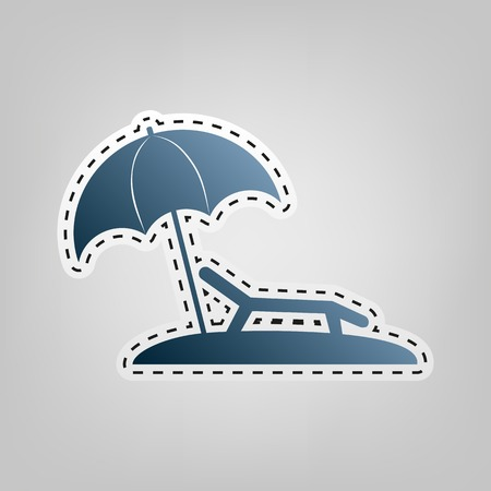 Tropical resort beach. Sunbed Chair sign. Vector. Blue icon with outline for cutting out at gray background.