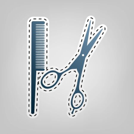 comb hair: Barber shop sign. Vector. Blue icon with outline for cutting out at gray background.