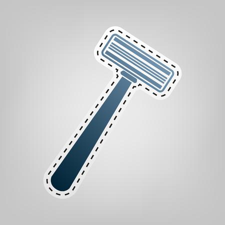 Signe de rasoir de sécurité. Vecteur. Icône bleue avec contour pour découper au fond gris. Vecteurs