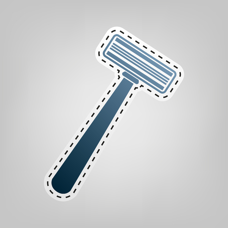Safety razor sign. Vector. Blue icon with outline for cutting out at gray background.