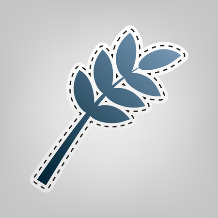 Tree branch sign. Vector. Blue icon with outline for cutting out at gray background.
