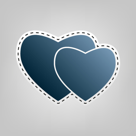 cor: Two hearts sign. Vector. Blue icon with outline for cutting out at gray background.