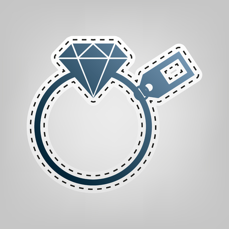spoil: Diamond sign with tag. Vector. Blue icon with outline for cutting out at gray background. Illustration