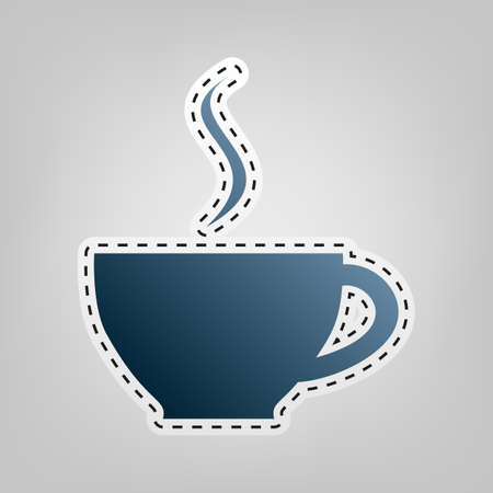 Cup sign with one small stream of smoke. Vector. Blue icon with outline for cutting out at gray background. Illustration