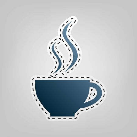 Cup sign with two small streams of smoke. Vector. Blue icon with outline for cutting out at gray background.